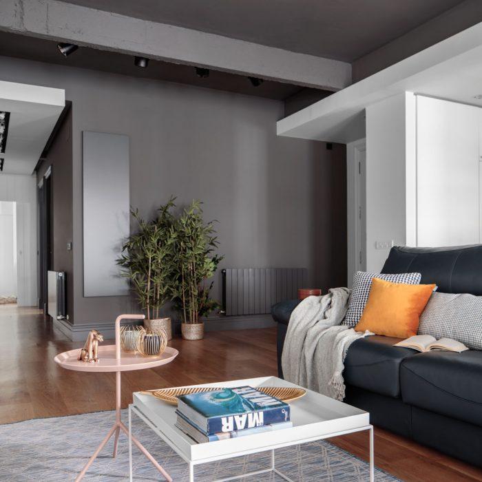 Salón proyecto de reforma de vivienda antigua en el centro de Bilbao