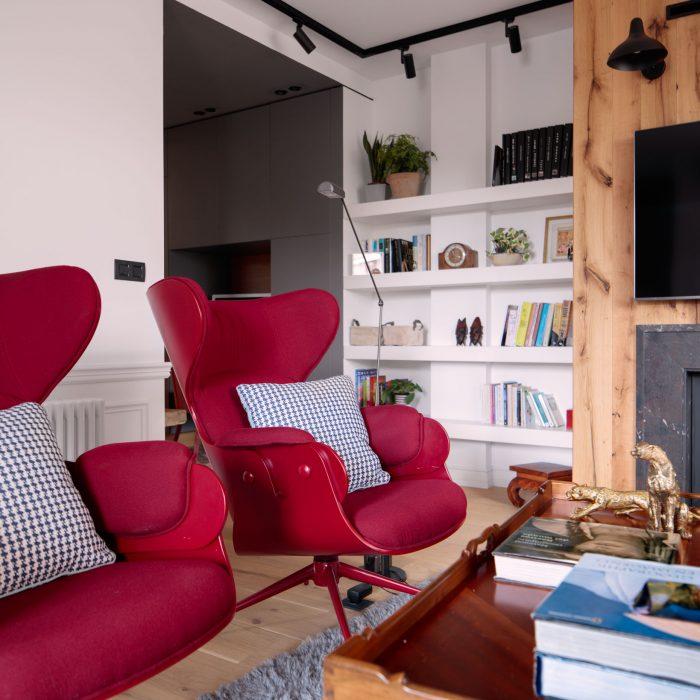 Detalle sillones reforma de vivienda en Santa María de Getxo