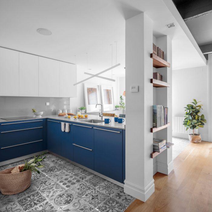 Cocina proyecto de reforma de vivienda antigua en el centro de Bilbao